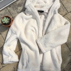 Fuzzy Off-White Hooded Jacket